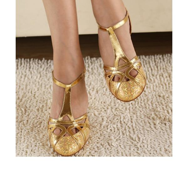 Femmes Pailletes scintillantes Talons Escarpins Salle de bal avec Lanière de cheville Chaussures de danse