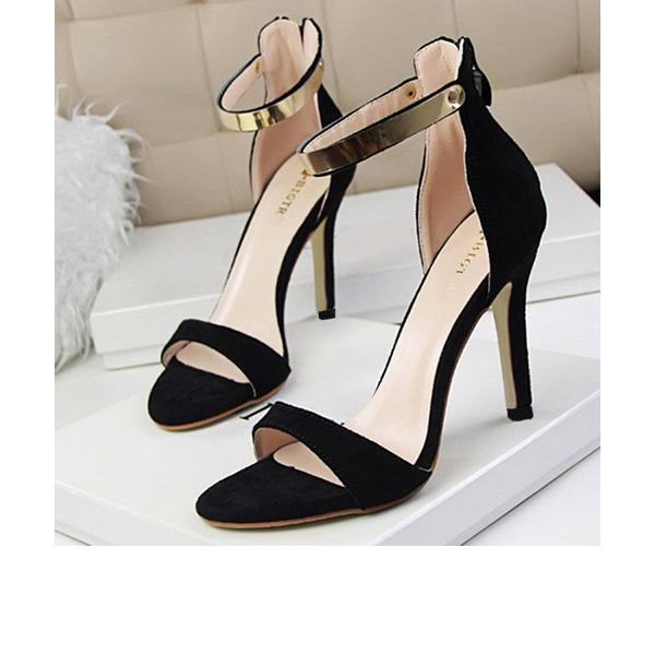 Frauen Wildleder Stöckel Absatz Sandalen Absatzschuhe Peep Toe mit Pailletten Reißverschluss Schuhe