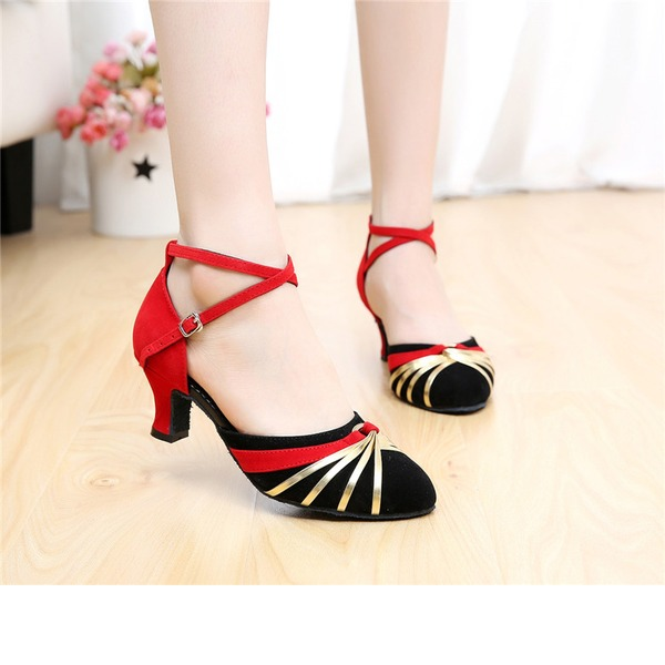 Women's Suede Sandals Ballroom With Hollow-out Dance Shoes