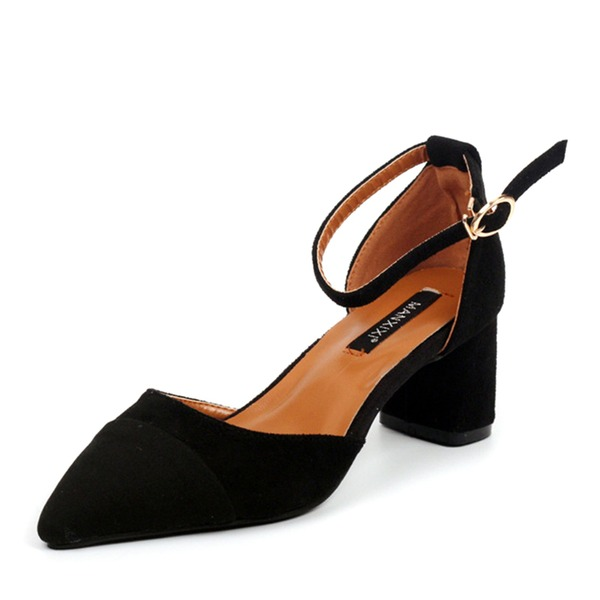Women's Suede Chunky Heel Pumps Closed Toe With Split Joint shoes