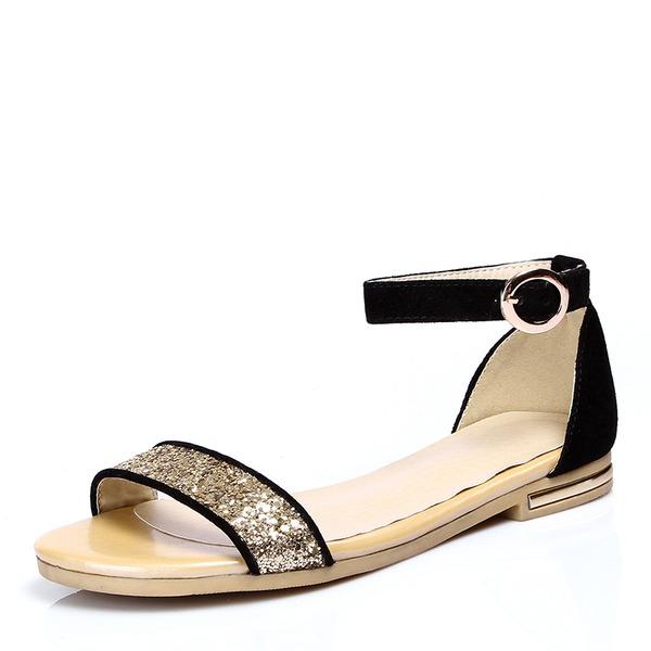Donna Similpelle Glitter scintillanti Senza tacco Sandalo Ballerine Punta aperta con Fibbia scarpe