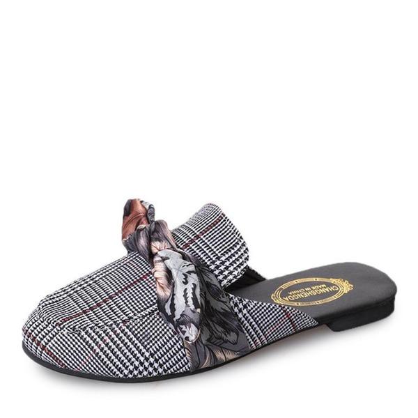 De mujer Tela Tacón plano Planos Cerrados Solo correa Pantuflas con Bowknot zapatos