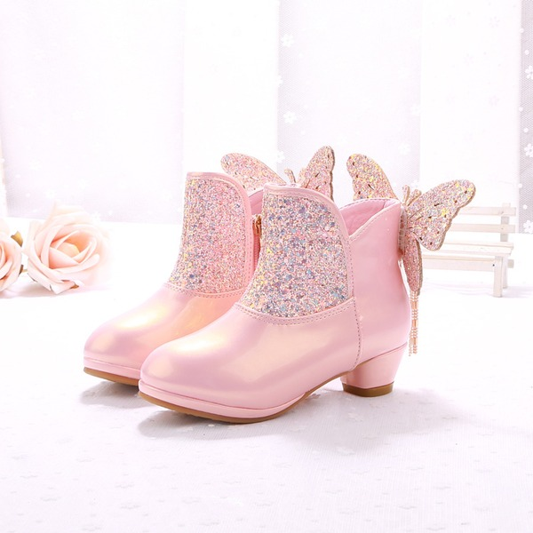 Girl's Closed Toe Ankle Boots Microfiber Leather Low Heel Boots Flower Girl Shoes With Bowknot