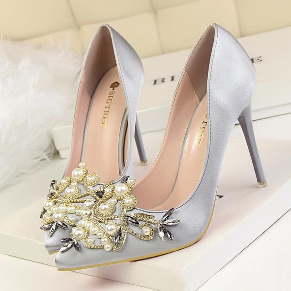 De mujer Satén Tacón stilettos Salón Cerrados con Rhinestone Perlas de imitación zapatos