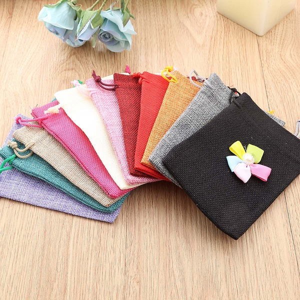 Linen Favor Bags With Flowers (Set of 12)
