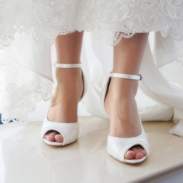 Kvinner Blonder Satin Stiletto Hæl Titte Tå Pumps Sandaler Fargbare Sko