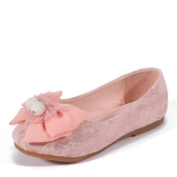 Jentas Round Toe Lukket Tå Leather Flate sko med Bowknot
