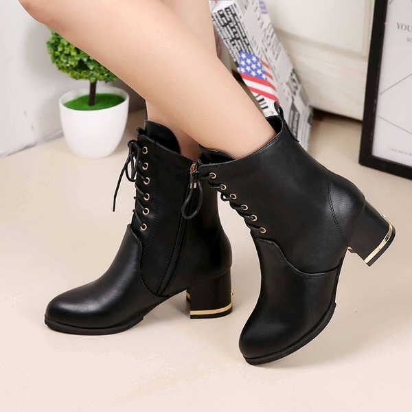 Women's Leatherette Chunky Heel Closed Toe Boots Ankle Boots With Lace-up shoes