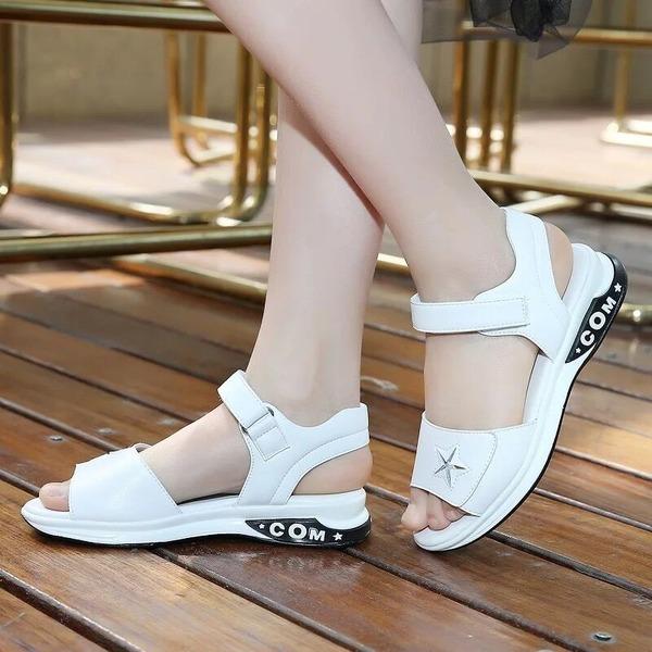 Girl's Unisex Peep Toe Flat Heel Flats With Velcro