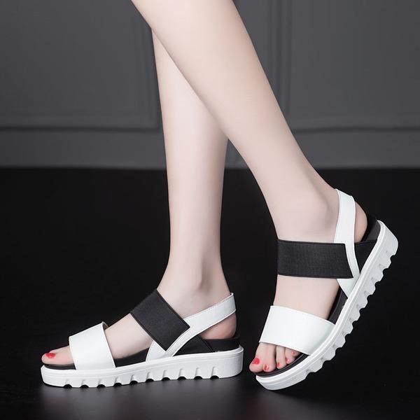 Frauen Microfaser-Leder Flascher Absatz Sandalen Flache Schuhe Slingpumps Schuhe