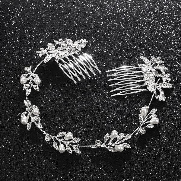 Dame Nice Legering Pandebånd med Rhinsten/Venetiansk Perle (Sælges i et enkelt stykke)