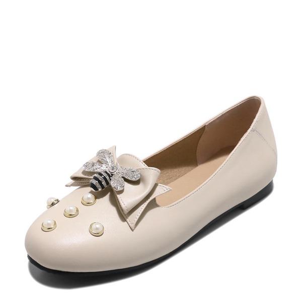 Women's PU Flat Heel Flats Closed Toe With Bowknot Imitation Pearl shoes