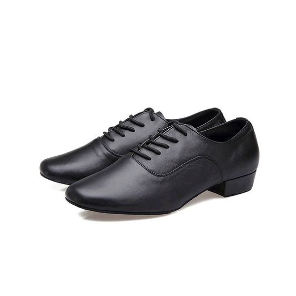 Men's Real Leather Pumps Latin Ballroom Practice Character Shoes With Lace-up Dance Shoes