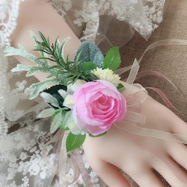 Redondo Cuerda de lino Conjuntos de flores ( conjunto de2) - Ramillete de muñeca/Boutonniere
