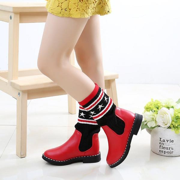 Girl's Ronde neus Half-Kuit Laarzen imitatieleer Flat Heel Flats Laarzen