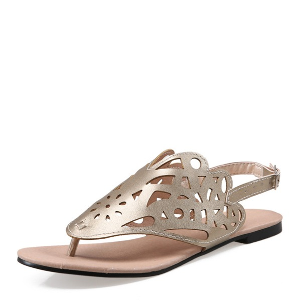 Vrouwen PU Flat Heel Sandalen Flats met Gesp schoenen