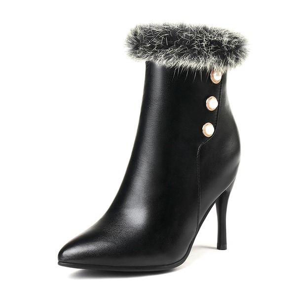 Women's Leatherette Stiletto Heel Pumps Closed Toe Boots Mid-Calf Boots Snow Boots With Imitation Pearl Fur shoes