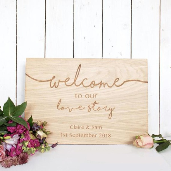 Klassiek Elegant Houten Wedding Sign