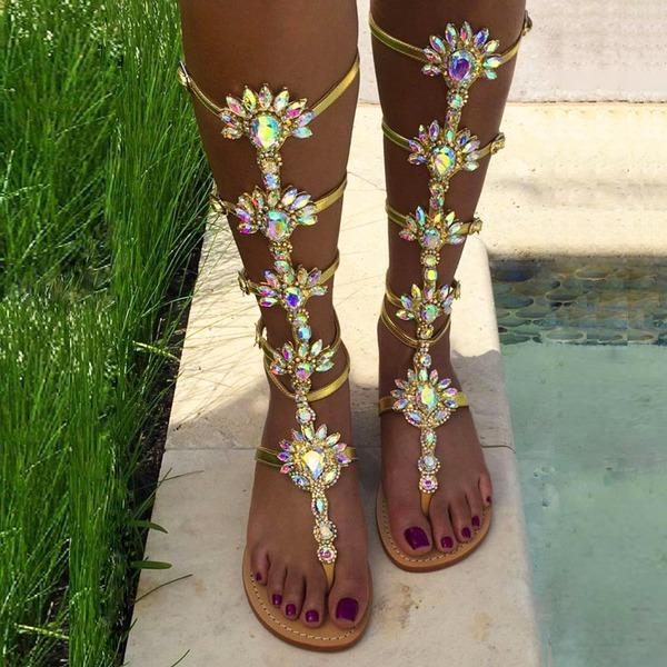 Femmes Similicuir Talon plat Sandales Bottes avec Strass Zip chaussures