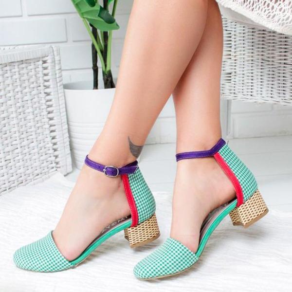 Mulheres Pano Salto robusto Sandálias com Fivela sapatos