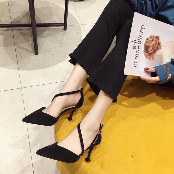 Donna Camoscio Tacco a spillo Stiletto Punta chiusa con Allacciato scarpe