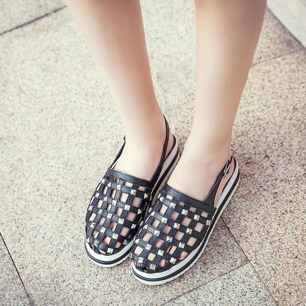 Kadın Mikrofiber Deri Düz Topuk Sandalet Daireler Ile Perçin Toka ayakkabı