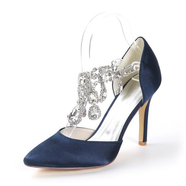 Women's Satin Stiletto Heel Closed Toe Pumps With Rhinestone Crystal