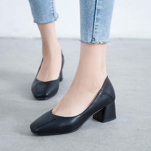 Women's PU Chunky Heel Pumps أحذية
