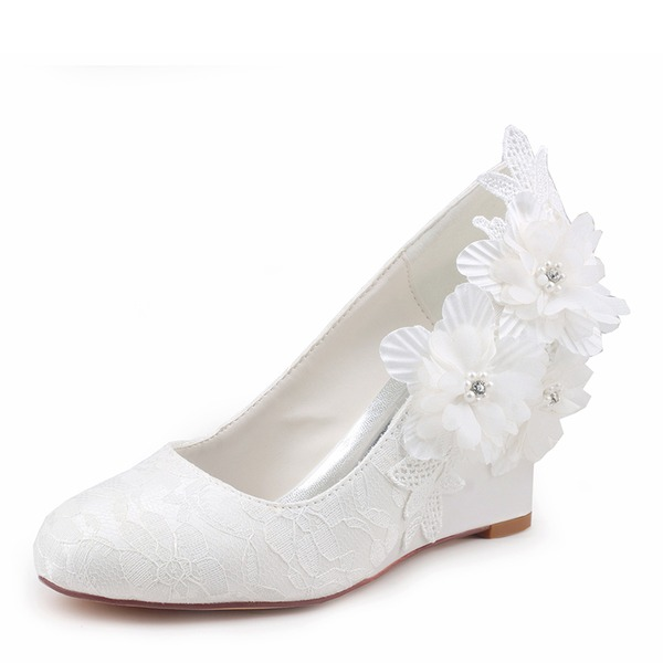 Women's Silk Like Satin Stiletto Heel Closed Toe Wedges With Stitching Lace Flower Crystal