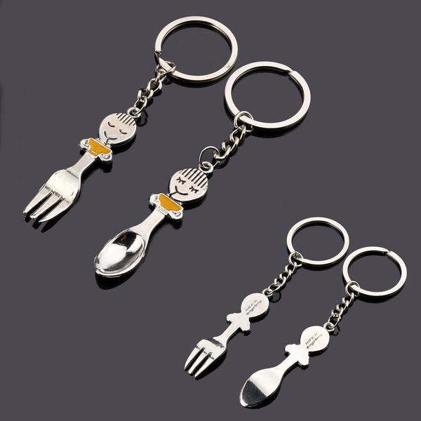 """personnalisé """"Cuillère et fourchette"""" En alliage de zinc Portes-clés (Lot de 6 paires)"""