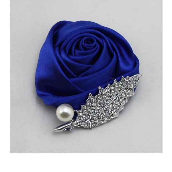 Romantic Round Satin Boutonniere/Men's Accessories