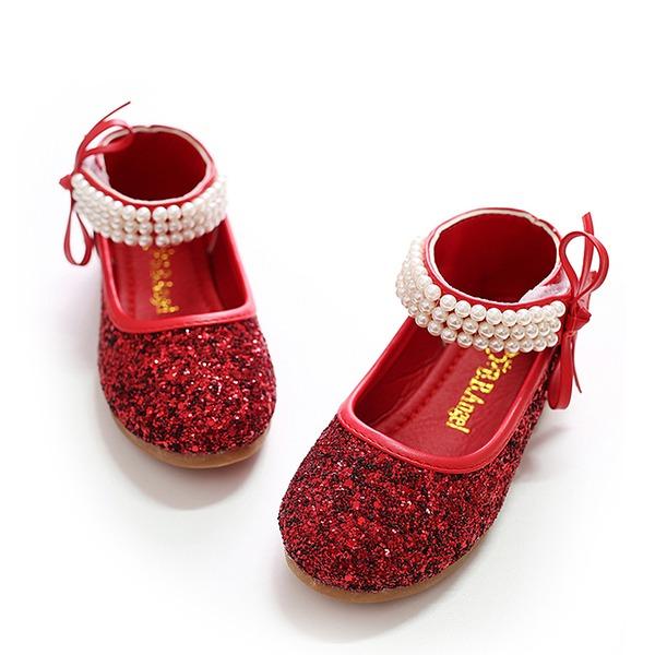 A menina de Fechados Glitter espumante Heel plana Sem salto Sapatas do florista com Bowknot Pérola Imitação Espumante Glitter Velcro