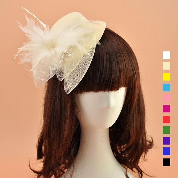 Ladies' Beautiful/Lovely Feather/Net Yarn Fascinators