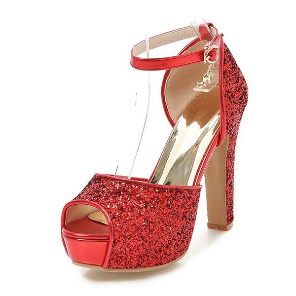 Kvinner Glitrende Glitter Stor Hæl Sandaler Pumps Platform Titte Tå med Spenne sko