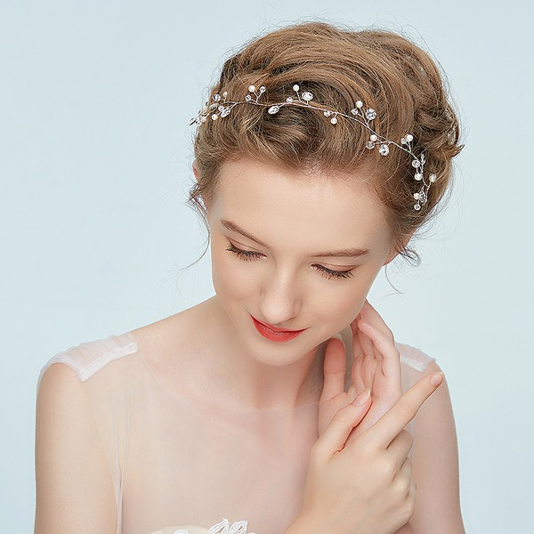Ladies Romantic Alloy Headbands With Rhinestone/Venetian Pearl (Sold in single piece)