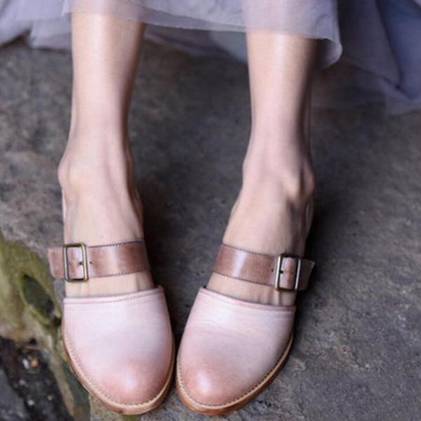 Женщины PU Низкий каблук Сандалии с пряжка обувь
