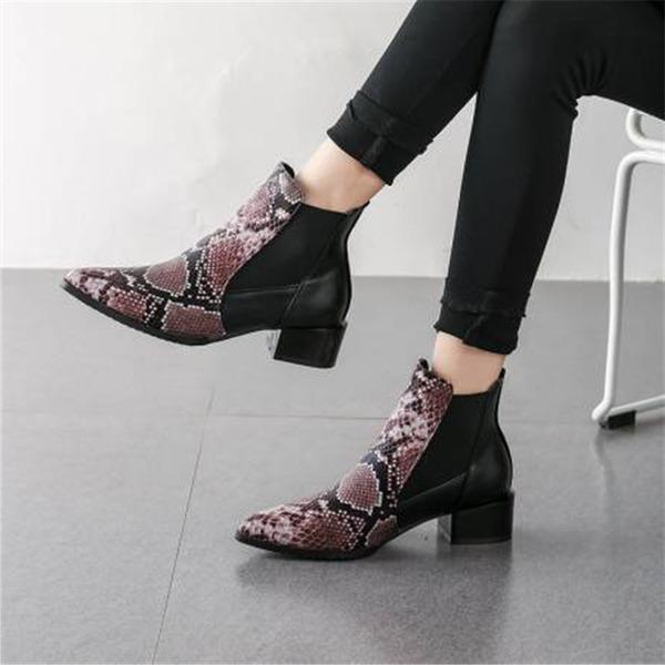 Dámské PU Široký podpatek Kotníkové boty S Ze dvou částí obuv
