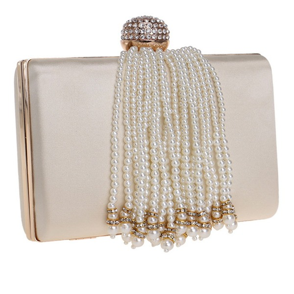 Elegante poliéster/Perlas de imitación Bolso Claqué