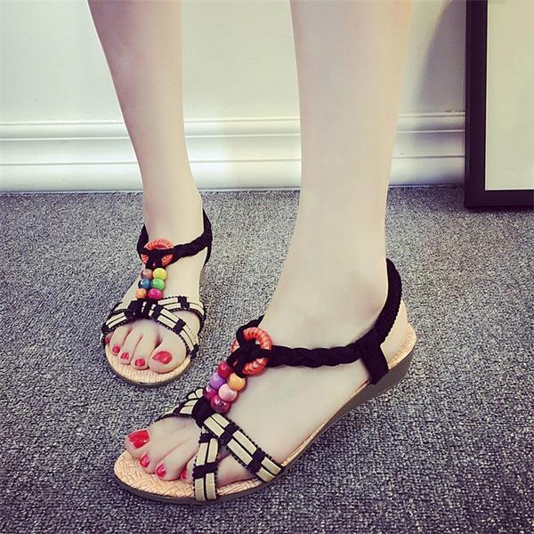 Vrouwen Kunstleer Wedge Heel Sandalen Peep Toe Slingbacks met Kralen Anderen Elastiek schoenen