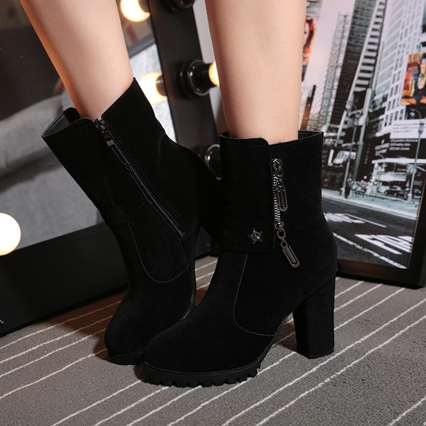 Women's Suede Chunky Heel Closed Toe Boots Ankle Boots With Zipper shoes