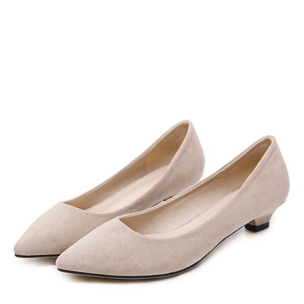 Frauen Veloursleder Niederiger Absatz Absatzschuhe Geschlossene Zehe mit Bowknot Schuhe
