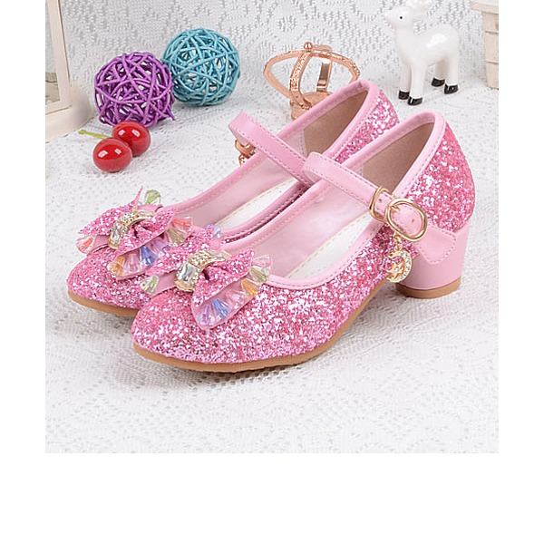 Girl's Round Toe Closed Toe Sparkling Glitter Low Heel Flower Girl Shoes With Bowknot