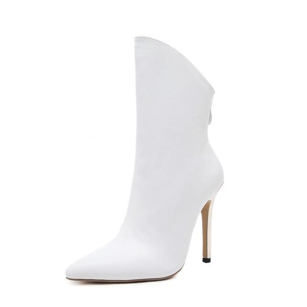 Vrouwen PU Stiletto Heel Pumps Laarzen Half-Kuit Laarzen met Rits schoenen