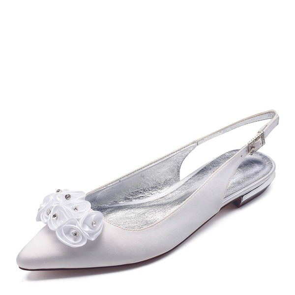 Women's Satin Flat Heel Closed Toe Flats Sandals Slingbacks With Flower