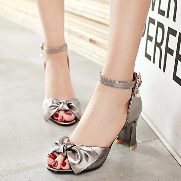 Vrouwen Kunstleer Chunky Heel Sandalen Pumps Peep Toe met Strass strik Gesp schoenen