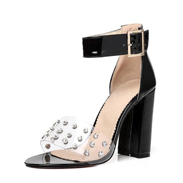 Naisten Kiiltonahka Chunky heel Sandaalit Avokkaat jossa Niitti Solki Nauhakenkä kengät