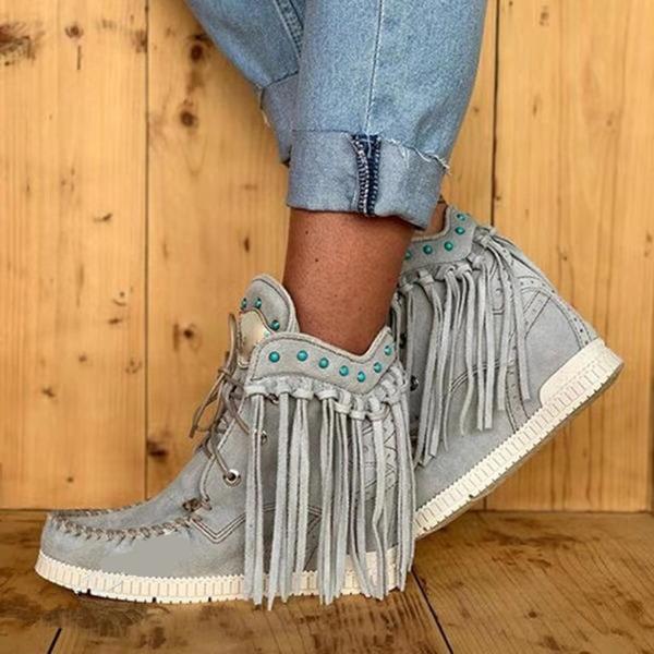 Kvinder Ruskind Flad Hæl Støvler Ankelstøvler med Blondér Tassel sko