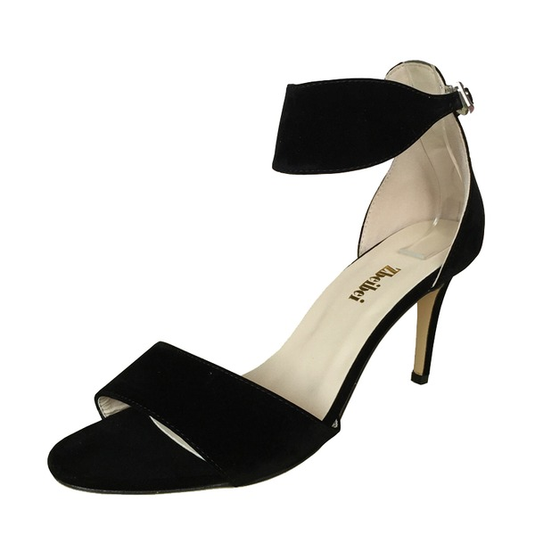 Frauen Wildleder Stöckel Absatz Sandalen Peep Toe Schuhe