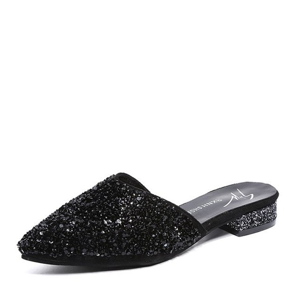 Women's Sparkling Glitter Low Heel Flats Closed Toe Slingbacks Slippers shoes