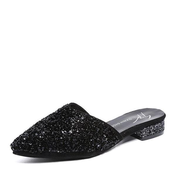 De mujer Brillo Chispeante Tacón bajo Planos Cerrados Solo correa Pantuflas zapatos